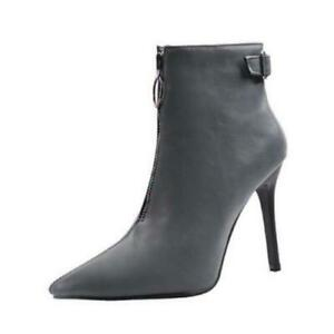 Womens Pointy Toe Stiletto Heel Ankle Boots Casual Nightclub Shoes Party 34/48 D