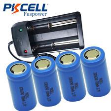 4x 123A CR123 ICR 16340 700mAh 3.7V Li-Ion wiederaufladbare Batterie & Ladegerät