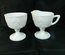 Vintage Milk Glass Creamer + Sugar Pedestal Grapevine Design