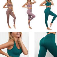 Women Yoga Set Sport Bra & Stretch Pants Leggings Seamless Gym Running Fitness