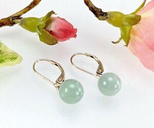9 CT Gold Light Green Jade Bead Ball Drop Earrings - Lever Back - 8 mm