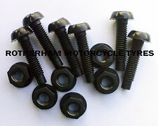 6 CAR NUMBER PLATE REGISTRATION NYLON SCREWS BOLTS AND NUTS BLACK FIXINGS