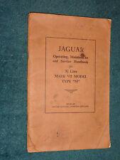 """1956 JAGUAR 3.5 LITRE """"M"""" TYPE OWNER'S MANUAL / RARE ORIG. GUIDE BOOK"""