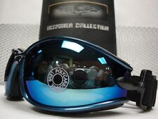 MOTORCYCLE BIKER SPORT RIDING Padded Foam GLASSES GOGGLES Blue Frame Mirror Lens