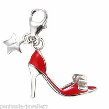 Tingle Red Shoe Clip on Sterling silver Charm with Gift Box and Bag