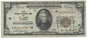 Series 1929 Federal Reserve Bank of St. Louis $20 National Currency
