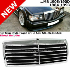 For 84-93 Mb 190E 190D Chrome Steel 13 Trim Style Front Bumper Radiator Grille (Fits: Mercedes-Benz)