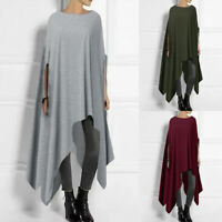 ZANZEA 10-24 Women Autumn Top Shirt Tee Cape Poncho Asymmetric Tunic Long Blouse