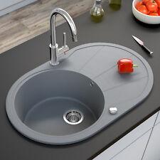 Granit Spüle Küchenspüle Einbauspüle Spülbecken+Drehexcenter+Siphon Grau