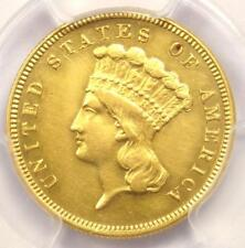 1882 Three Dollar Indian Gold Coin $3 - Certified PCGS AU Details - Rare Date!