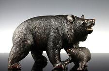 Bärenmutter und Junges Brienz Schwarzwald um 1890 Holz Black Forest 1.5 kg