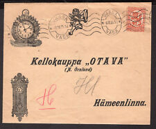 1257 FINLAND ILLUSTRATED COVER -CLOCKS- 1925 VAASA - HAMEENLINNA