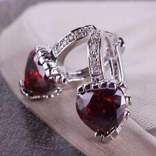 Engagement 18K White gold filled Woman favorable design leverback garnet earring