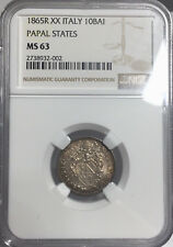 1865 R XX MS63 Papal States 10 Baiocchi NGC KM 1342c 437 Registry Vatican Italy