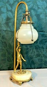 1870's All Original Victorian Figural Lady Gas Lamp w/Original Shade STUNNING!