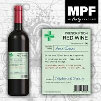 Personalised Prescription Wine Bottle Label - Novelty Birthday/Christmas Gift