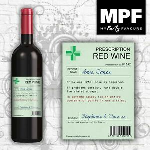 Personalised Prescription Wine Bottle Label - Novelty Birthday/Christmas Gift
