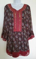 Womens Joe Browns Black Floral Beaded Sequin Flared Sleeve Boho Tunic Blouse 16.