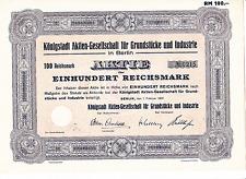 Königstadt Aktien-Ges. für Grundstücke und Industrie in Berlin, 100,00 RM 1937