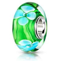 Materia Murano Beads 925 Silber Blumen Element - Murano Glas Bead grün blau