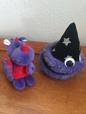 Wizard w Mini Book & Nici Dragon Stuffe Gently Used Lot of 2 Plush Purple Merlin