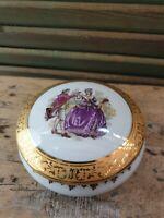 Vintage French Limoges Porcelain Lidded Round Trinket Box Bonbonniere