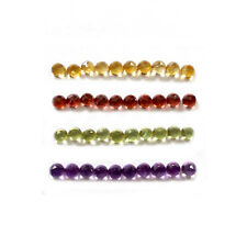 +AAA 40 Pcs 3 mm Round Faceted Cabs 10 Pcs Each Citrine Garnet Peridot Amethyst