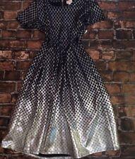 NWT LuLaRoe 2XL Elegant Navy Silver Metallic Ombré Amelia Dress Pockets HOLIDAY