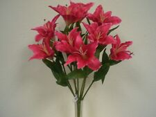"""BEAUTY RED Large Tiger Lily Bush Artificial Silk Flowers 18"""" Bouquet 9-687RD"""