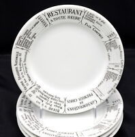 "Pillivuyt Brasserie * 4 SALAD / DESSERT PLATES * 7 1/2"", French Writing, EXC!"
