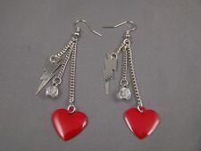 """Red Lightning Bolt heart multi chain dangle earrings lightweight 3.25"""" long"""
