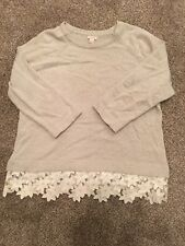 J Crew Sweater With Lace Edge Large