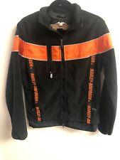 Harley Davidson Black / Orange Polyester Fleece Jacket Men's XS