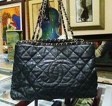 CHANEL Black Quilted Leather Gold Chain Me Tote Shopper Bag Purse