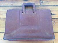"""Vtg Schlesinger Brothers Cali Saddle Leather Attache Briefcase Laptop Bag 17"""""""