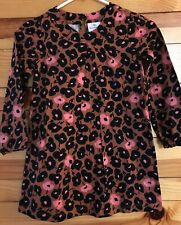 Hanna Andersson Brown Dress Girls with Pink Floral Print EUC Size 120 6-7-8