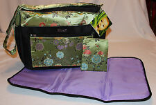 New – 3 Piece Baby Diaper Bag - Chartreuse Green Brocade - Bag & Pad & Clutch