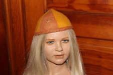 VTG LITTLE BOY GIRL CHILD BEANIE CAP HAT ORANGE & YELLOW WOOL FELT SMALL