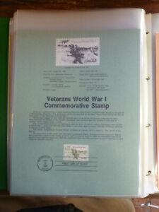 1985 USA VETERANS WWI FDI SOUVENIR STAMP SHEET