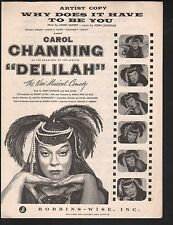 Why Does It Have to Be You '55 Carol Channing Delilah Artist's Copy  Sheet Music