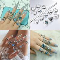 13pcs Bohemian Blue Crystal Turtle Finger Rings Knuckle Ring Set Boho Jewellery