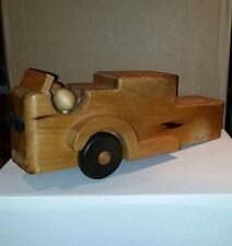 Vintage Wood Wooden Push Pull Fire Truck Tucker Toys USA Repairable