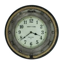 "20"" Round Wall Clock - SHIP'S TIME NEW YORK Porthole Clock with Rope Trim"