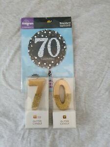 70th birthday bundle cake candles & helium balloon brand new packaged