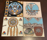 Lot Of 4 Vintage Earthtones Southwestern Glazed Pottery Tile Trivet Wall Art Set