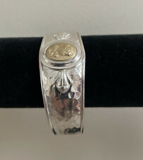 925 Sterling Silver 14K 585 Gold bust cameo Hammered Cuff Bracelet Italy QVC