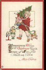 Christmas - Child w/ Tree & Toys c1915 Postcard 548D