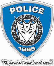 "Decepticon Barricade Police bumper sticker, wall decor vinyl decal sml, 3.5""x 4"""