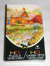 Flower Garden Swans Pond Cottage Cardinal HD Jigsaw Puzzle 500 Pieces Landscape