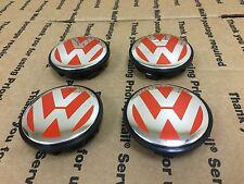 NEW VOLKSWAGEN VW SET 4 CENTER WHEEL WHEELS RIM RIMS HUB HUBS CAP CAPS 65MM RED